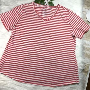 Terra & Sky Red White Stripe V-Neck Sz 1X 16W-18W